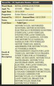 Royal Enfield India Files Trademark Application For Hunter Nameplate ! 2